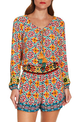 Display product reviews for Belted tile print romper