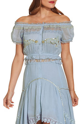 Blue goddess off the shoulder blouse
