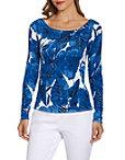 Boat Neck Palm Print Long Sleeve Sweater Photo