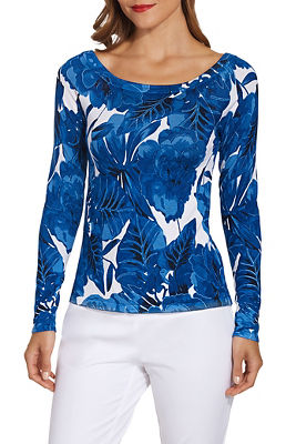 Boat neck palm print long sleeve sweater