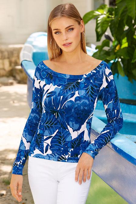 Boat neck palm print long sleeve sweater image