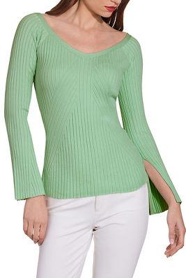 Boatneck slimming ribbed sweater