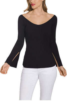 Boatneck slimming ribbed sweater