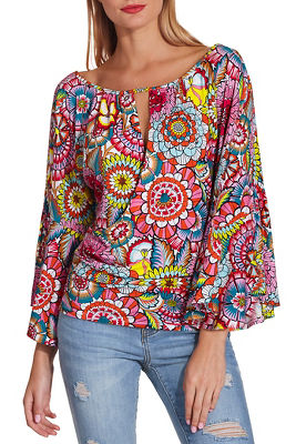 Display product reviews for Boat neck surplice print top
