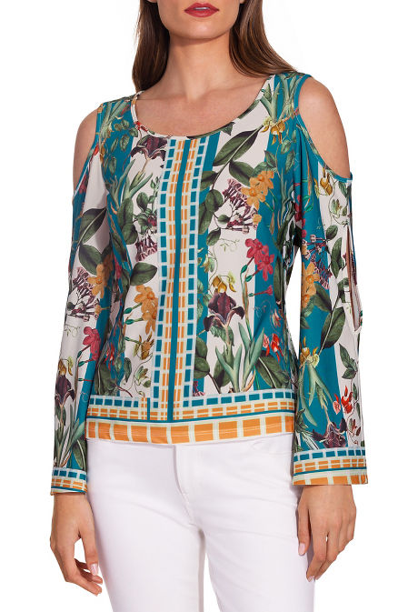 Border print cold shoulder cutout top image