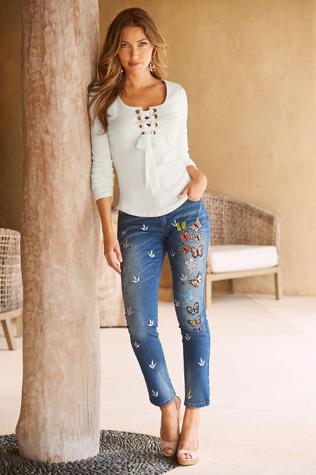 Butterfly embroidered jean image