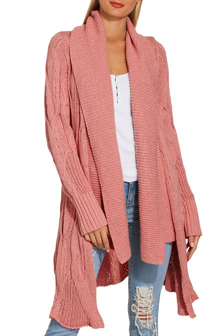 Cabled long sleeve cozy cardigan image