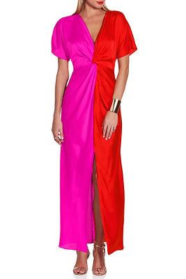Contrast knot charm dress