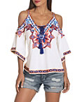 Cold Shoulder Lace Up Embroidered Top Photo