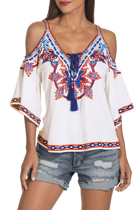 Cold shoulder lace up embroidered top image