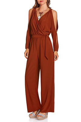 Cold shoulder surplice jumpsuit