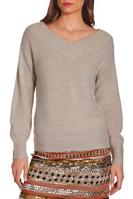 Double v long sleeve cozy sweater