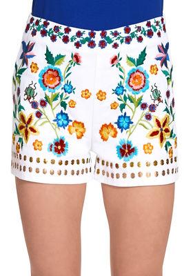 Embroidered floral short