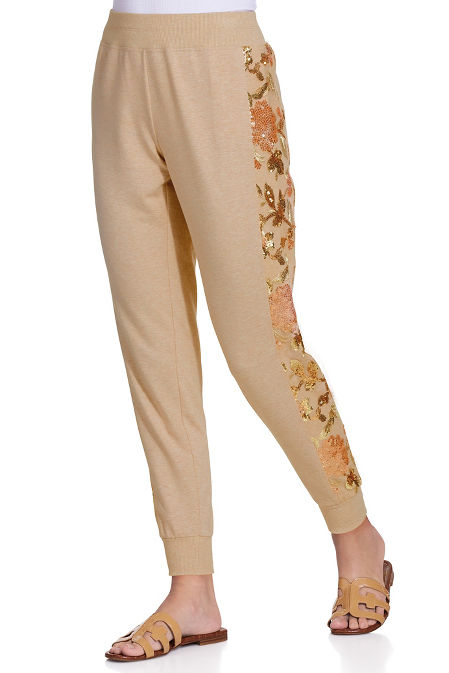 Embroidered sporty jogger pant image
