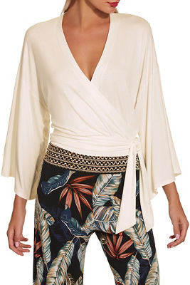 Flare sleeve wrap top