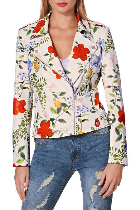 Floral vegan leather moto jacket image