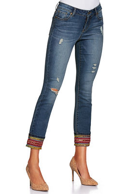 Free spirit embroidered cropped jean