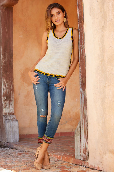 Free spirit embroidered cropped jean image