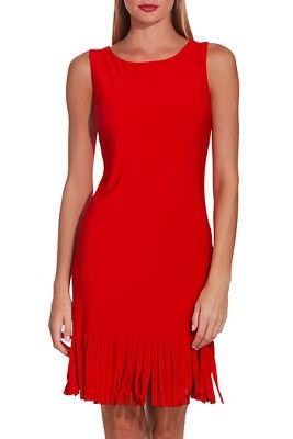 Fringe solid shift dress