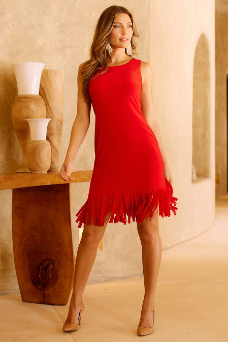 Fringe solid shift dress image