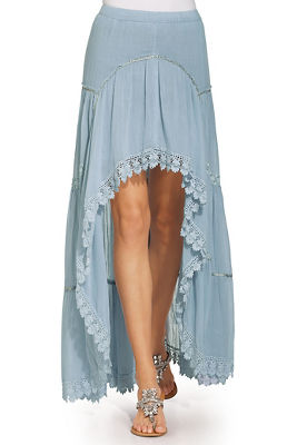 hi lo blue goddess maxi skirt