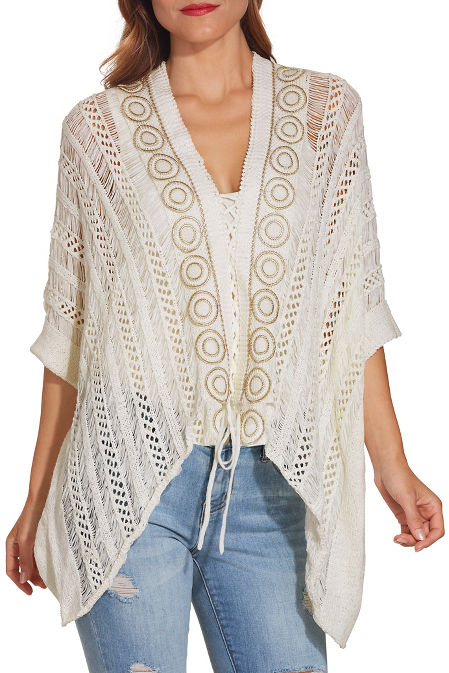 Lace up crochet poncho image