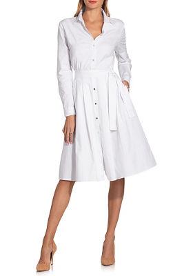 Long sleeve poplin shirtdress