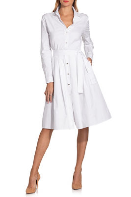 Long sleeve poplin shirtdress