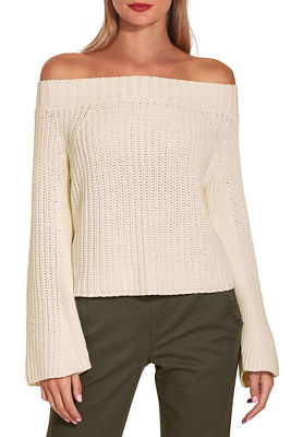 off the shoulder flare sleeve easy sweater