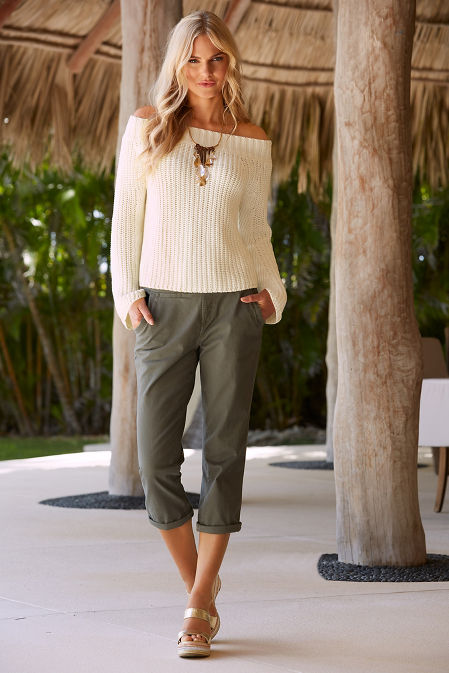 Off the shoulder flare sleeve easy sweater image