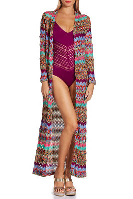 Bright multicolor crochet duster