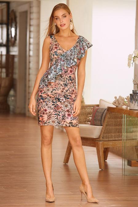 Pastel floral scuba dress image