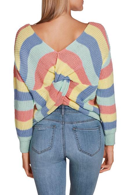Pastel stripe twist sweater image