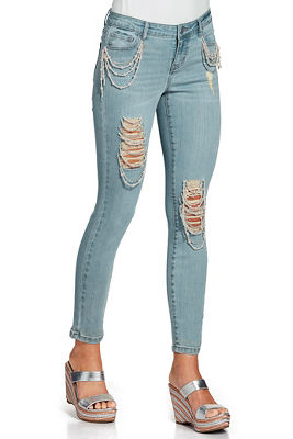 Pearl and chain ankle jean