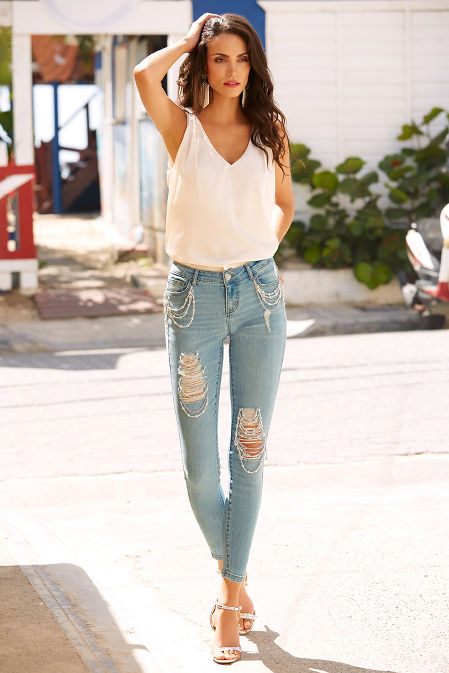 Pearl and chain ankle jean image