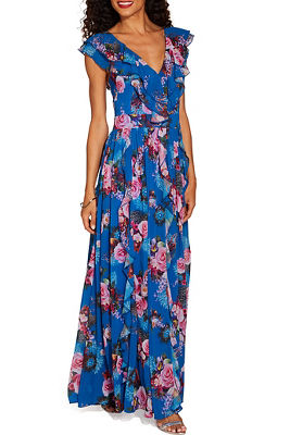 Ruffle rose maxi dress