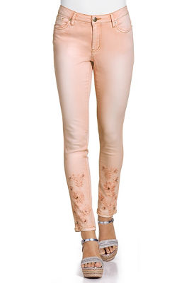 Pink flowers ankle jean