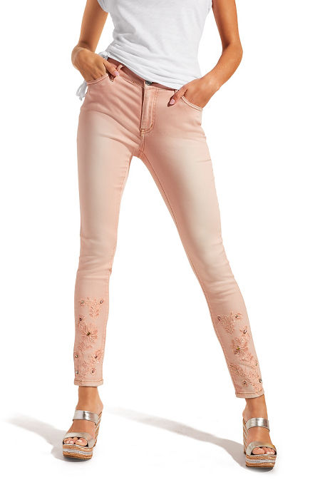 Pink flowers ankle jean image