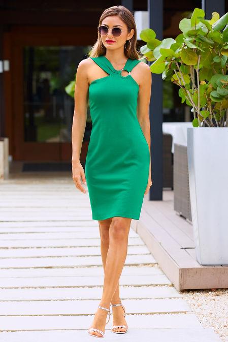 Ponte ring sheath dress image