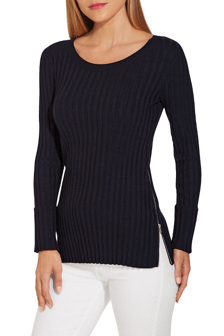Ribbed zipper detail cuffed sweater image