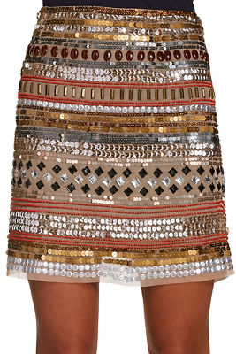 Sequin and bead mini skirt