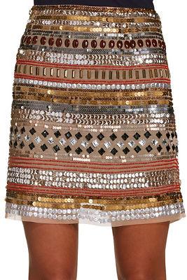 sequin and bead mini skirt