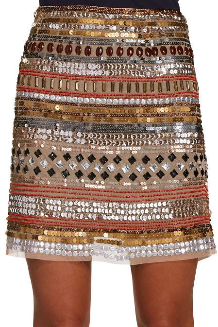 Sequin and bead mini skirt image