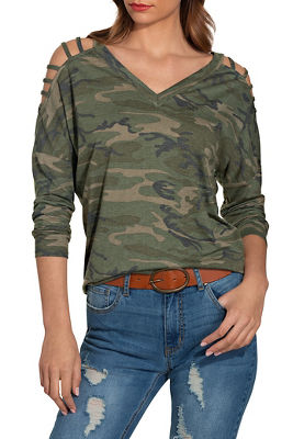 slub v neck strappy long sleeve camo top