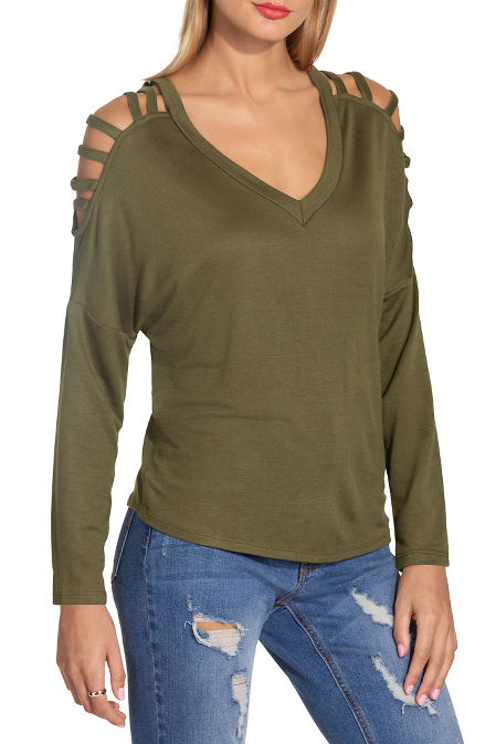 V neck strappy long sleeve top image