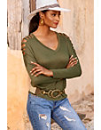 V Neck Strappy Long Sleeve Top Photo