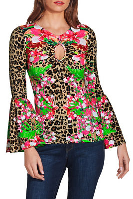 So Sexy™ ruched keyhole print top