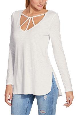 Strappy neckline long sleeve slub top
