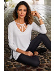 Strappy Neckline Long Sleeve Slub Top Photo