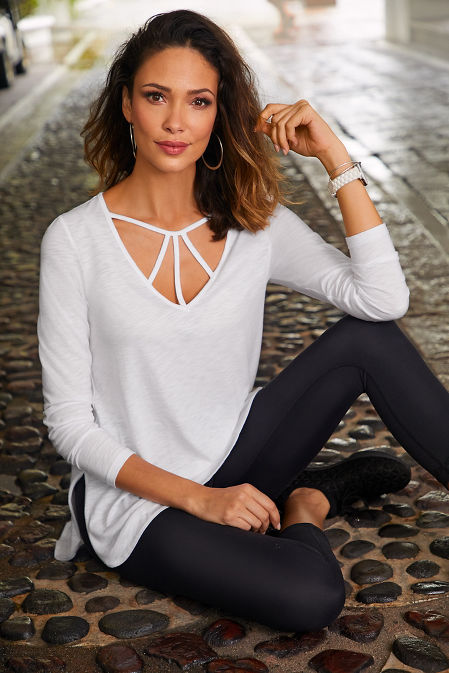 Strappy neckline long sleeve slub top image